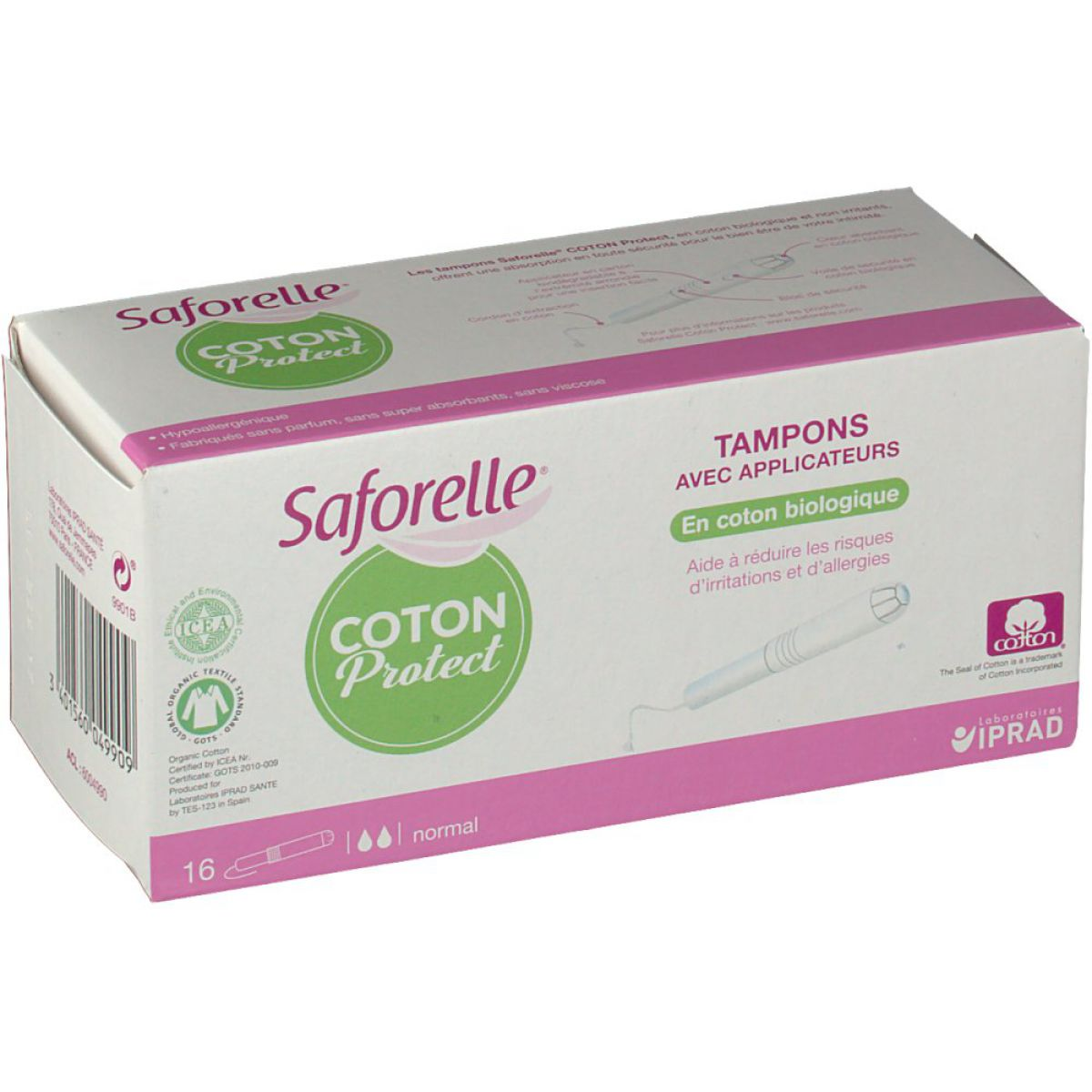 Saforelle - Coton protect - 16 tampons avec applicateurs